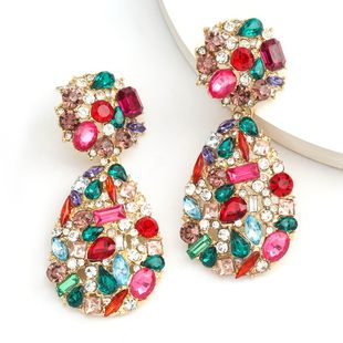 Fashion colored diamond series exaggerated big brand alloy diamond rhinestone boho earrings wholesale nihaojewelry NHJE234047's discount tags