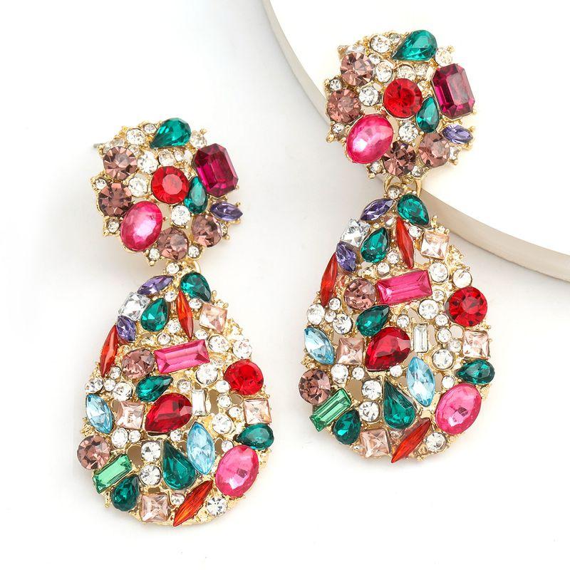 Fashion colored diamond series exaggerated big brand alloy diamond rhinestone boho earrings wholesale nihaojewelry NHJE234047