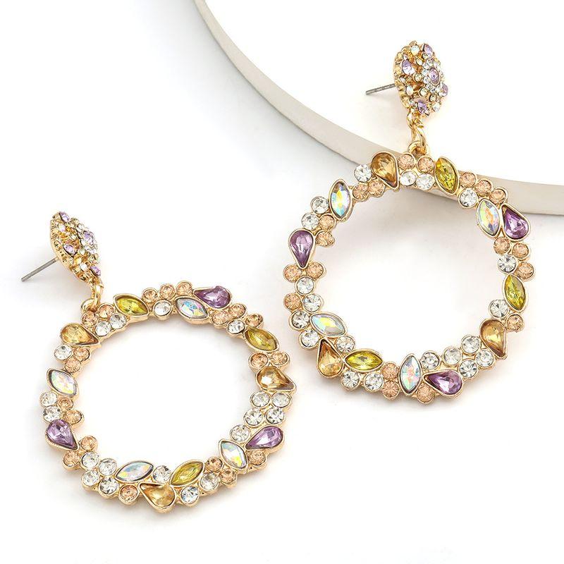 Fashion Color Diamond Series Exaggerated Hollow Round Alloy Diamond Acrylic Earrings Retro wholesale nihaojewelry NHJE234048