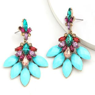 Fashion Color Diamond Series Ethnic Wind Alloy Diamond Resin Flower Earrings wholesale nihaojewelry NHJE234049's discount tags