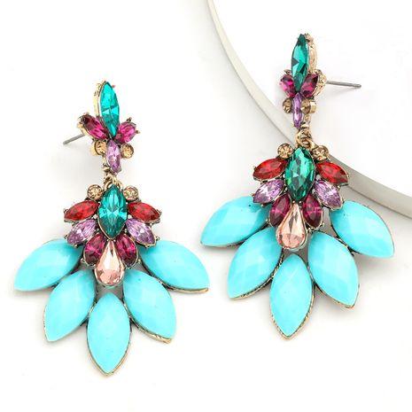 Mode Couleur Diamant Série Ethnique Vent Alliage Diamant Résine Fleur Boucles D'oreilles en gros nihaojewelry NHJE234049's discount tags