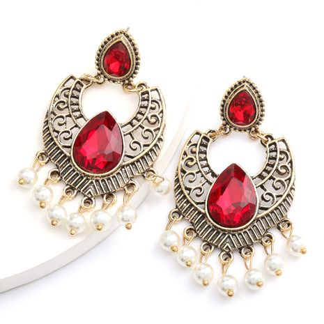 hot-selling alloy retro carved glass diamond pearl tassel earrings Bohemian ethnic style wholesale nihaojewelry NHJE234050's discount tags