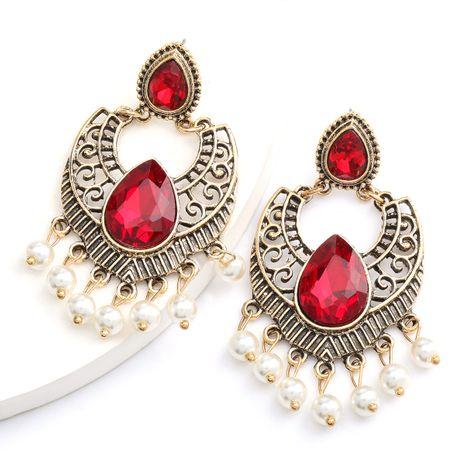 alliage de vente chaude rétro en verre sculpté diamant perle boucles d'oreilles gland Bohème style ethnique en gros nihaojewelry NHJE234050's discount tags