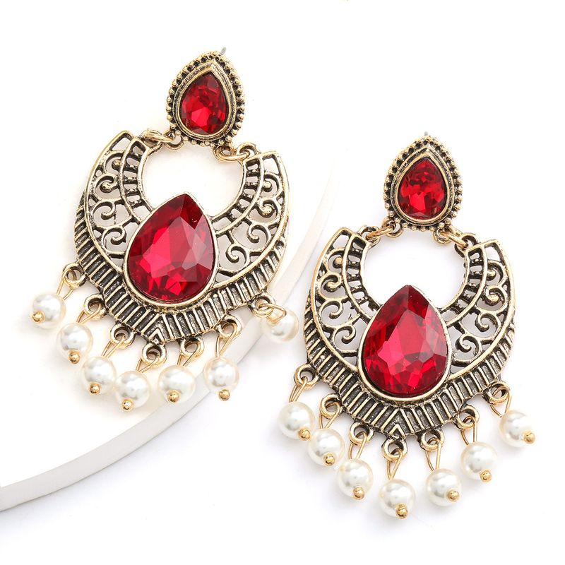 hotselling alloy retro carved glass diamond pearl tassel earrings Bohemian ethnic style wholesale nihaojewelry NHJE234050