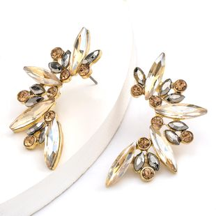Fashionable half-ear rhinestones diamonds flowers earrings women's trendy super fairy earrings wholesale nihaojewelry NHJE234051's discount tags