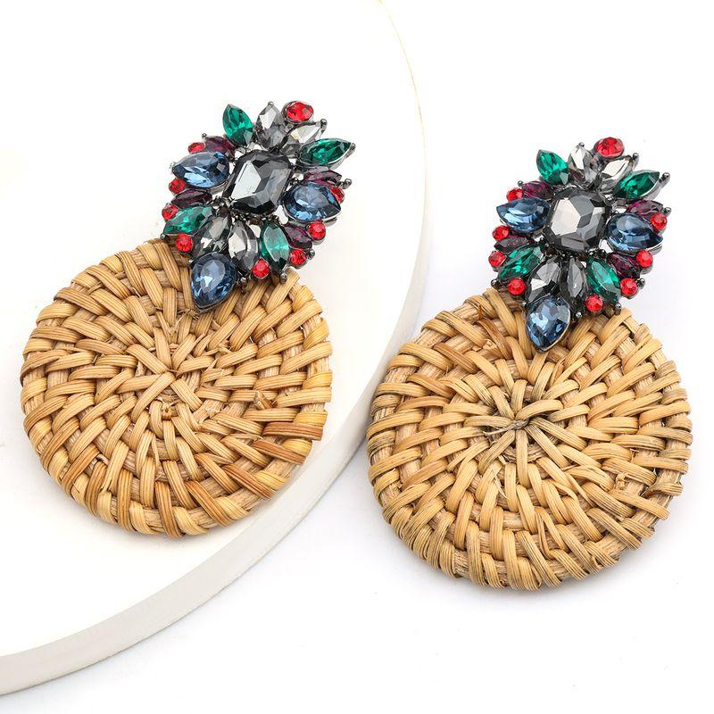 Creative alloy diamond round rattan woven earrings retro earrings bohemian ethnic style wholesale nihaojewelry NHJE234052