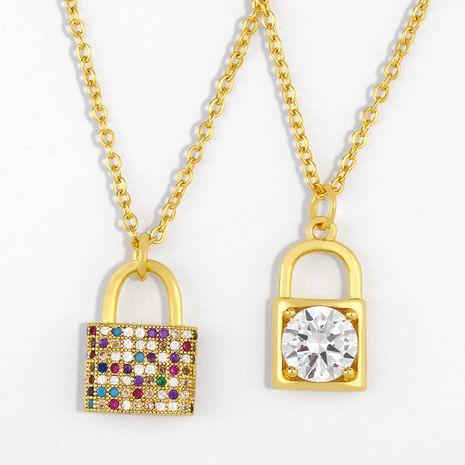necklace new accessories diamond lock pendant necklace clavicle chain wholesale nihaojewelry NHAS234066's discount tags