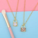 necklace new accessories diamond lock pendant necklace clavicle chain wholesale nihaojewelry NHAS234066