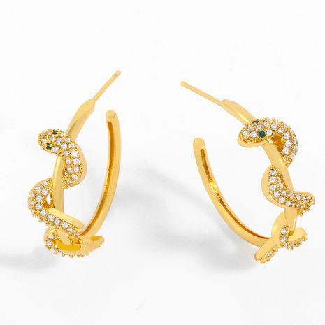 jewelry new earrings C-shaped earrings models diamond-shaped snake earrings wholesale nihaojewelry NHAS234075's discount tags