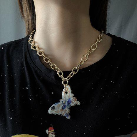 nouvelle tendance bijoux mode vacances style couleur verre papillon collier en gros nihaojewelry NHMD234081's discount tags