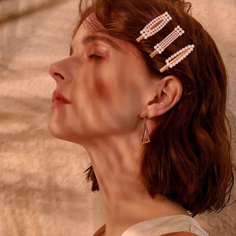 fashion sweet pearl hair clip girl simple geometric edge clip hot sale wholesale nihaojewelry NHMD234084