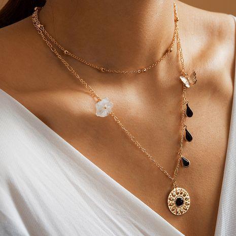 nouvelle mode papillon collier géométrique diamant goutte goutte d'eau fleur multi-couche collier en gros nihaojewelry NHGY234094's discount tags