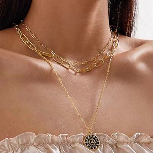 fashion new creative diamond compass necklace oval chain multilayer necklace wholesale nihaojewelry NHGY234095's discount tags