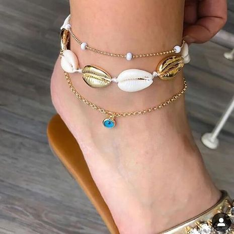 popular jewelry simple ocean style blue diamond shell woven 3-piece anklet wholesale nihaojewelry NHGY234098's discount tags