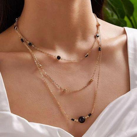 nouvelle mode noir perle collier créatif diamant-set chaîne riz perle multicouche collier en gros nihaojewelry NHGY234102's discount tags