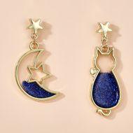 Animal starry fantasy earrings simple cute asymmetric moon cat earrings wholesale nihaojewelry NHGY234105