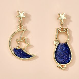 Animal starry fantasy earrings simple cute asymmetric moon cat earrings wholesale nihaojewelry NHGY234105's discount tags