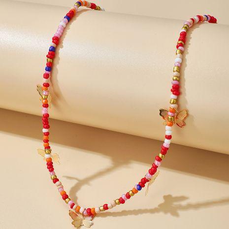 bijoux mode alliage papillon pendentif collier simple couleur perles de riz collier fait main en gros nihaojewelry NHGY234107's discount tags