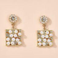 Alloy plating Korean fashion pearl series earrings geometric shape diamond commuter pearl earrings wholesale nihaojewelry NHGY234109