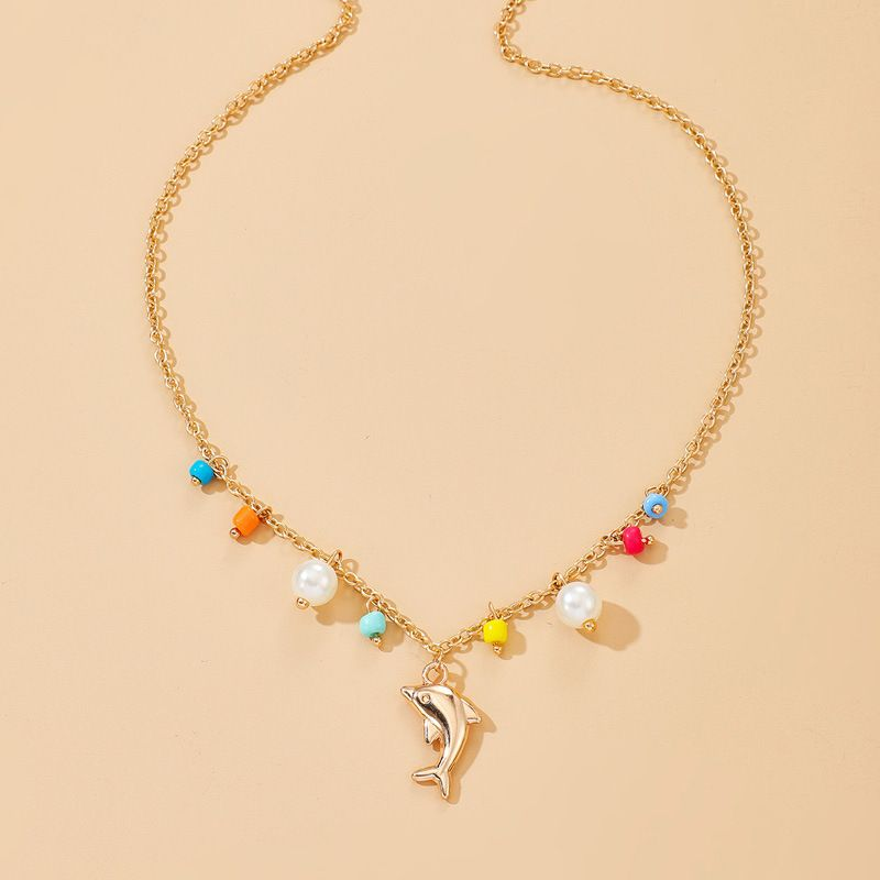 new jewelry fashion simple dolphin necklace color rice beads pearl necklace wholesale nihaojewelry NHGY234111