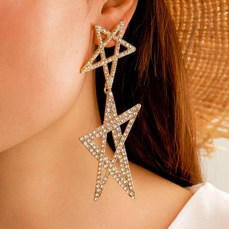 new jewelry fashion five-pointed star earrings creative hollow full diamond star earrings wholesale nihaojewelry NHGY234113's discount tags