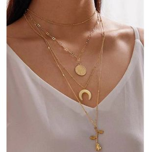 fashion jewelry moon rose necklace popular portrait horn multi-layer necklace wholesale nihaojewelry NHGY234112's discount tags