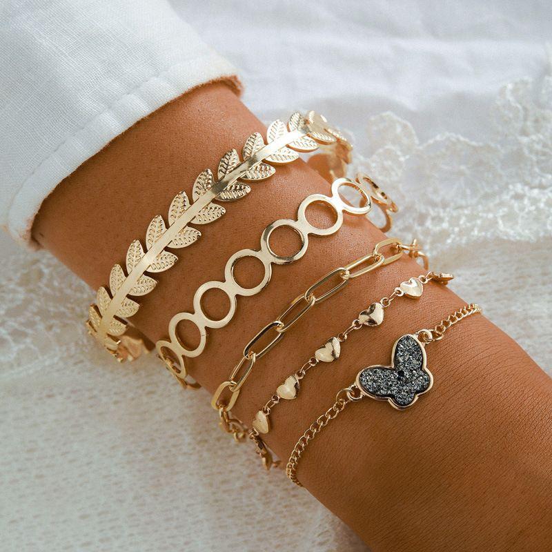 jewelry fashion multi-layer jewelry multi-element butterfly bracelet 5-piece set wholesale nihaojewelry NHGY234118