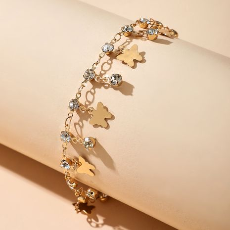 creative rhinestone butterfly jewelry new popular shiny tassel diamond element butterfly anklet wholesale nihaojewelry NHGY234119's discount tags