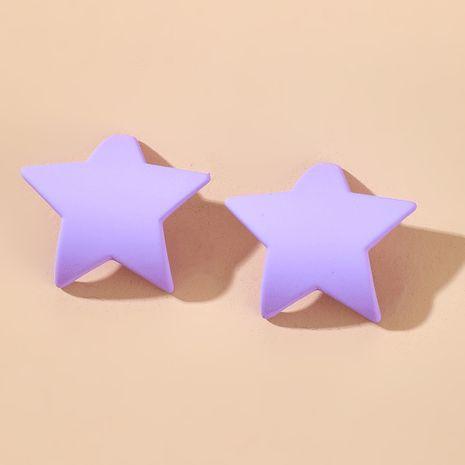 Nouvelle aiguille en argent simple violet étoile à cinq branches boucle d'oreille créative mode semi-circulaire boucles d'oreilles bijoux d'été en gros nihaojewelry NHGY234125's discount tags