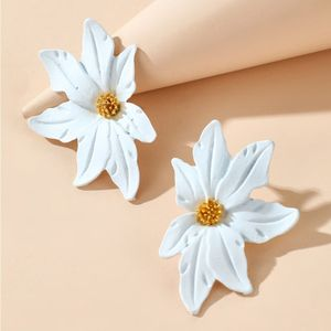 creative Korean spray paint flower earrings color left and right three-dimensional small flower earrings wholesale nihaojewelry NHGY234126