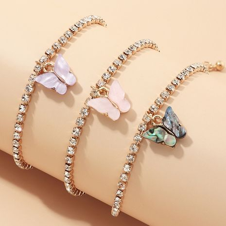 fashion jewelry fashion full diamond chain footwear trend small butterfly anklet suit wholesale nihaojewelry NHNZ234131's discount tags