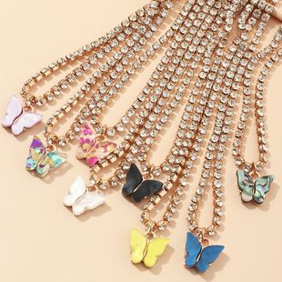 fashion jewelry popular claw chain drill shiny clavicle chain acrylic butterfly necklace wholesale nihaojewelry NHNZ234133's discount tags