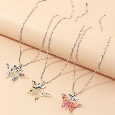 jewelry fashion round bead chain popular butterfly necklace 3 sets wholesale nihaojewelry NHNZ234136's discount tags