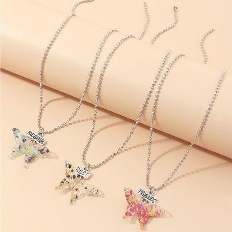 bijoux mode chaîne de perles ronde populaire papillon collier 3 ensembles en gros nihaojewelry NHNZ234136's discount tags