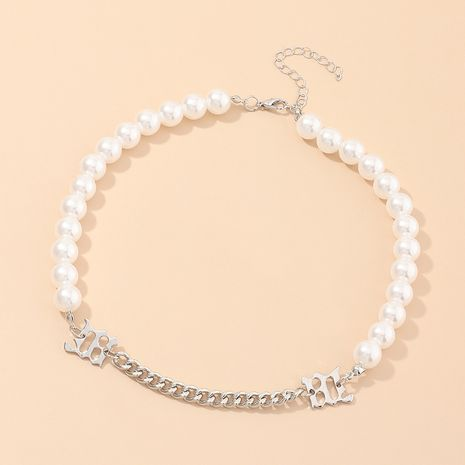 jewelry trend cool choker clavicle chain hip hop style niche pearl stitching necklace wholesale nihaojewelry NHNZ234137's discount tags