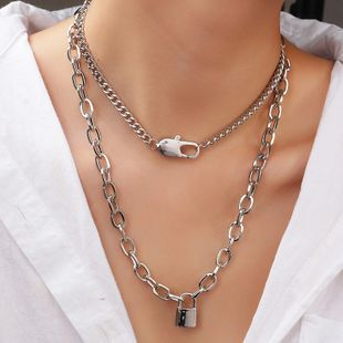 jewelry creative popular new round buckle chain punk metal lock necklace wholesale nihaojewelry NHNZ234138's discount tags