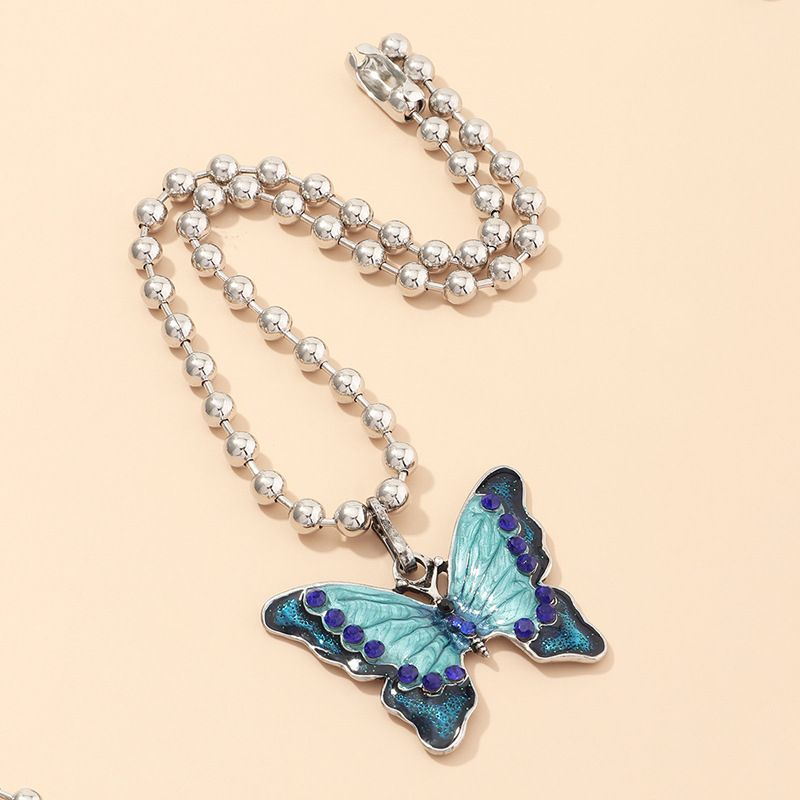 jewelry colorful butterfly necklace alloy bead chain fashion clavicle chain wholesale nihaojewelry NHNZ234141
