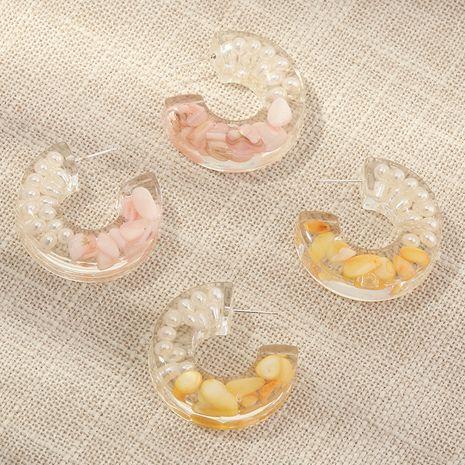 tendance de la mode nouveaux bijoux en forme de C boucles d'oreilles en acétate cylindrique en gros nihaojewelry NHNZ234142's discount tags