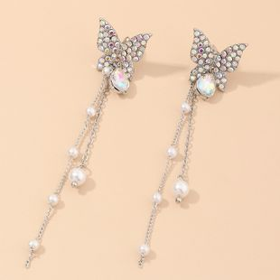 new jewelry super fairy butterfly full diamond long pearl tassel earrings wholesale nihaojewelry NHNZ234144's discount tags