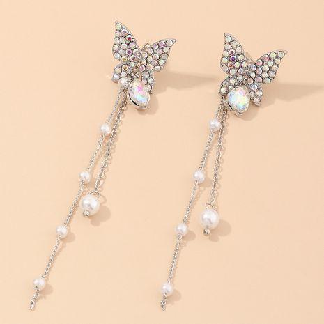 nouveaux bijoux super fée papillon plein diamant longue perle boucles d'oreilles gland en gros nihaojewelry NHNZ234144's discount tags