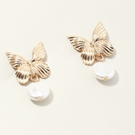 new jewelry popular metal butterfly earrings creative fashion pearl earrings wholesale nihaojewelry NHNZ234145's discount tags