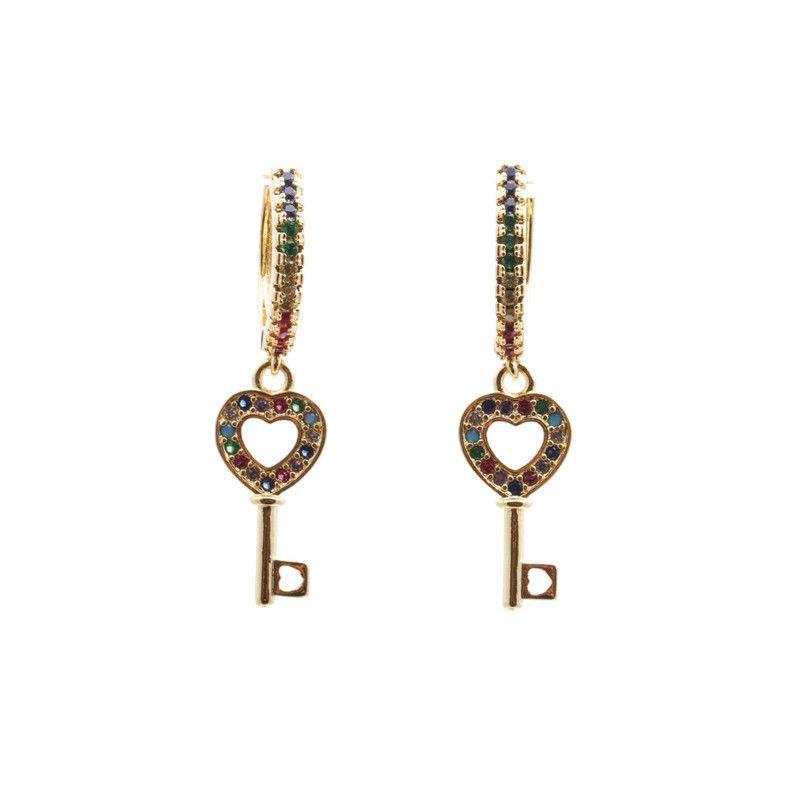 Trendy new products jewelry micro-set zircon key earrings wholesale nihaojewelry NHYL234146