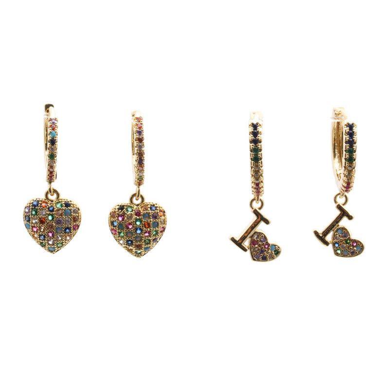 Jewelry Earrings Hot Selling Earrings Micro Inlaid Zircon Love Earrings Stud wholesale nihaojewelry NHYL234154