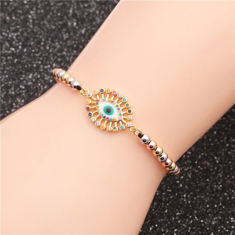fashion trend new products mixed color chain zircon evil eye adjustable ladies bracelet wholesale nihaojewelry NHYL234161's discount tags