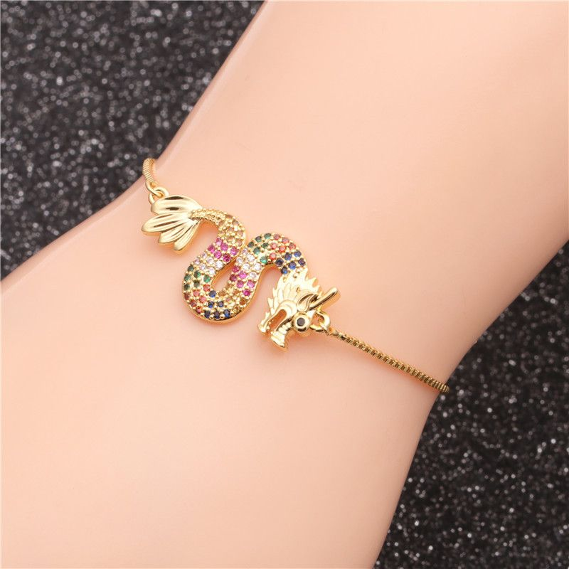 Trendy jewelry micro-set zircon flying dragon adjustable ladies bracelet wholesale nihaojewelry NHYL234164