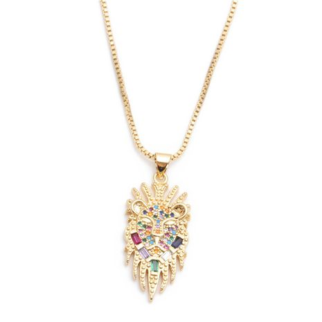 jewelry trend new products micro-set zircon owl pendant necklace ladies necklace wholesale nihaojewelry NHYL234175's discount tags