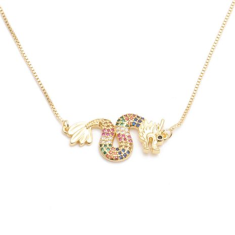 jewelry trend new products micro-set zircon dragon necklace ladies necklace wholesale nihaojewelry NHYL234176's discount tags