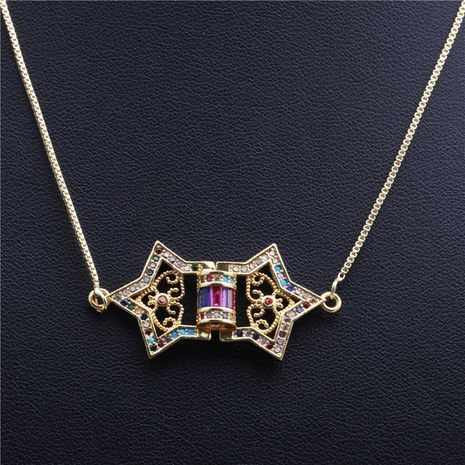 new trend products micro-inlaid zircon arrow five-star triangle necklace wholesale nihaojewelry NHYL234178's discount tags