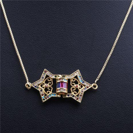 nouvelle tendance produits micro-incrusté zircon flèche cinq étoiles triangle collier en gros nihaojewelry NHYL234178's discount tags