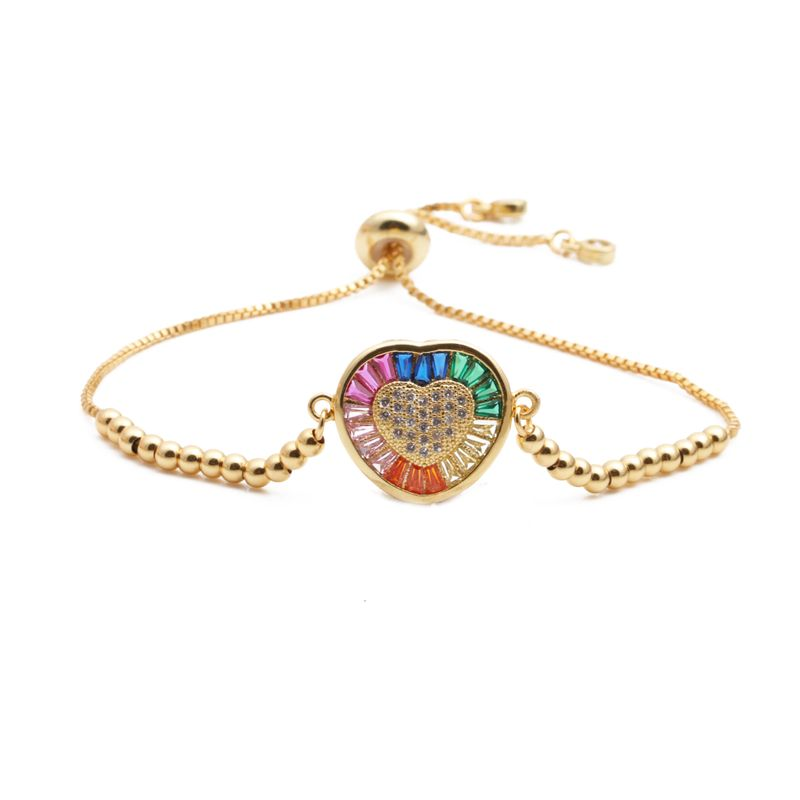 fashion jewelry copper micro inlay zircon love adjustable ladies bracelet Valentine's Day gift wholesale nihaojewelry NHYL234193